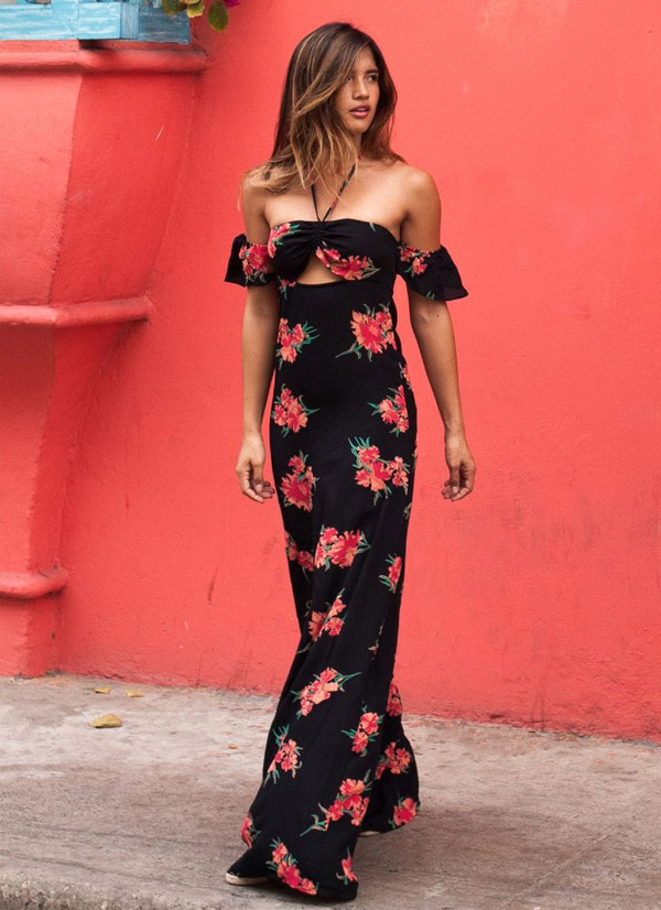 Ver o 2016 sensuel tricot for Black floral dress to a wedding