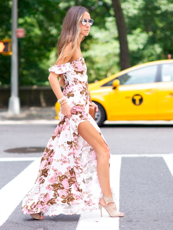 maxi-floral-off-the-shoulder-dress-heels-street-style