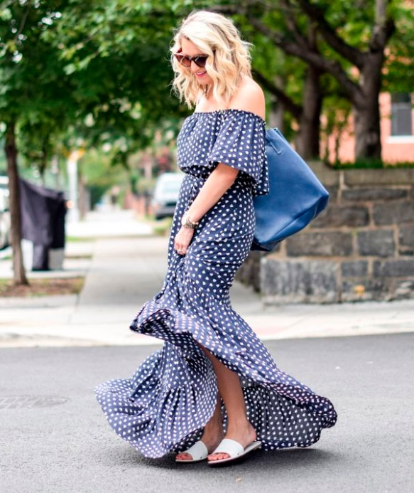 maxi-polka-dot-off-the-shoulder-dress-street-style