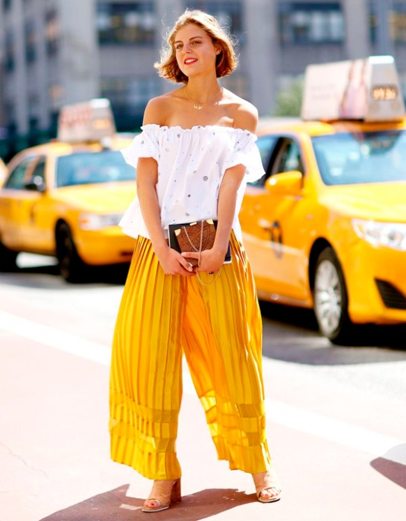 yellow-wide-pants-blouse-style